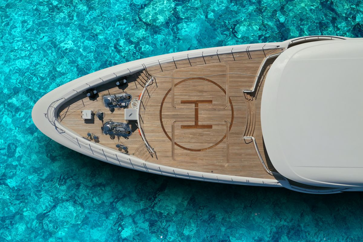 Aerial view of the deck of a private yacht