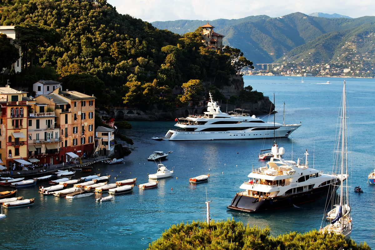 Private yachts moored in on the coast