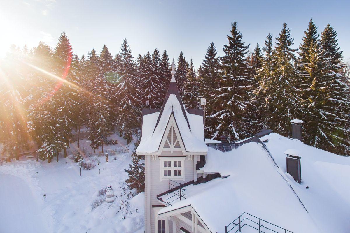 Snowy ski resort at sunrise