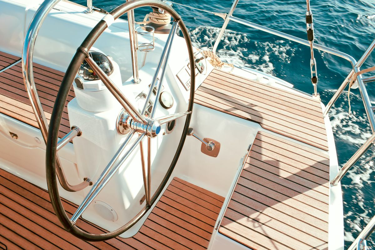 Ship's wheel of a private yacht